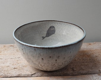 Blue Grey Mixing Bowl with Underwater Seal