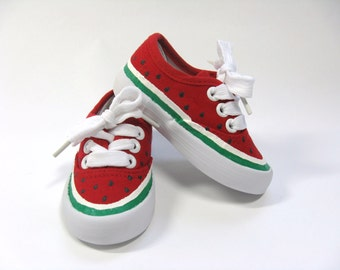 Watermelon Shoes, Picnic Theme Birthday Party, Watermelon Outfit, Hand Painted Red Sneakers For Baby and Toddlers