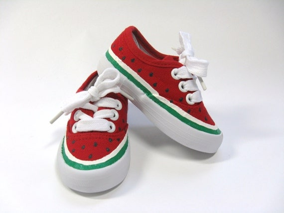 Watermelon Shoes, Hand Painted Red Canvas Sneakers, Birthday Theme Party, Watermelon Outfit, For Baby and Toddlers