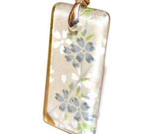 Rectangle Glass Pendant: Blue Flowers on Ivory Glass Tile Pendant - Hand Drilled with Silver Bail - Black Ribbon Necklace