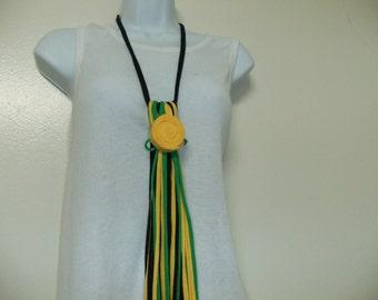 Fringed Tassel Necklace/Multi Strand Necktie/Statement Necklace Removable Rosette/Summer Scarf Necklace