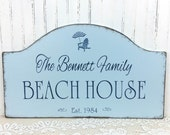 BEACH HOUSE wooden sign, personalized custom family, shore house sign,  lake house, beach cottage, cottage chic, realtor housewarming gift