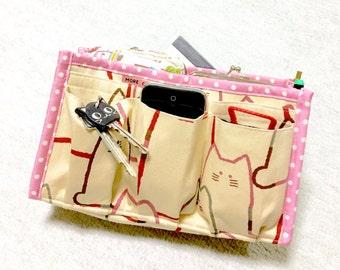 Purse Organizer / Inner Purse / Purse Insert / Bag in Bag --- Fat Cat - Red