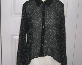 sheer blouse . sheer black blouse . polka dot blouse . high-low black blouse