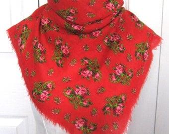 folk rose scarf .  red folk scarf . German pink rose scarf