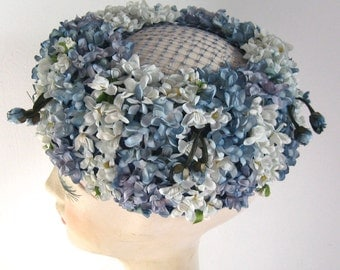 Blue Flower pillbox Hat . forget me not Hat . blue blossom hat . pillbox hat . pillbox . Verena Guest