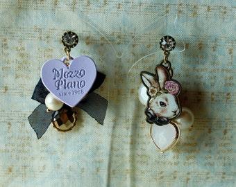 Sweet Lolita rabbit heart earrings