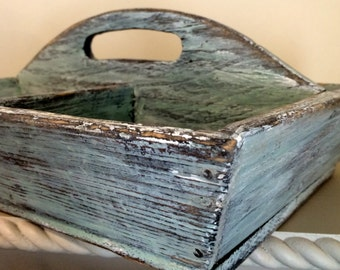 """Primitive Garden Tray Flatware Caddy Tote Wood Hand Crafted 11"""" by 11"""" Robin's Egg Blue Paint"""