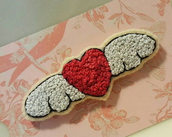 Flying Winged Heart Valentine Pin Brooch - All French Knots Embroidery on Wool