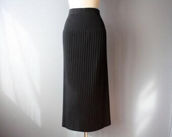 vintage 90s maxi skirt / black accordion pleated skirt / L