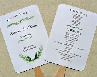 Wedding Program Fan | Wedding Programs | Wedding Hand Fans | Personalized Hand Fans | Wedding  Fans - Wedding Ceremony Programs
