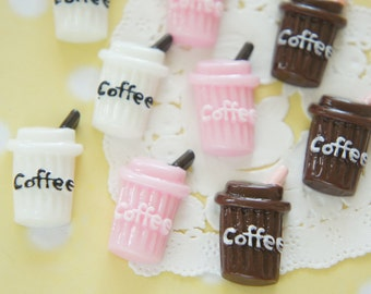 9 pcs Iced Coffee Paper Cup Cabochon (16mm27mm) CD657 (((LAST)))