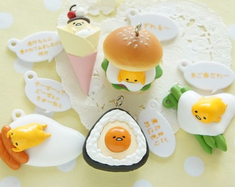 Completed Set of 5pc Food Mascot Gudetama charms AZ182