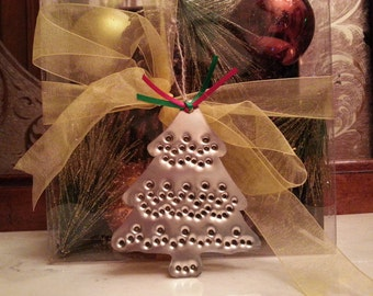 Tin Christmas Tree Ornament Old Fashioned Silver Tin Punch By West Tinworks
