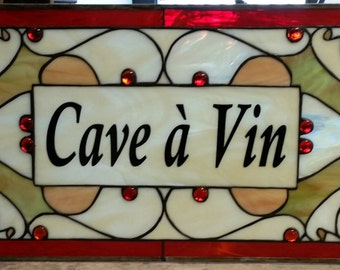 """Stained Glass Panel - """"Cave a Vin"""" (P-54)"""