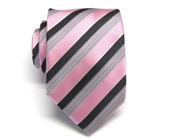 Mens Tie. Pink Black and Gray Stripes Mens Necktie With Matching Pocket Square Option