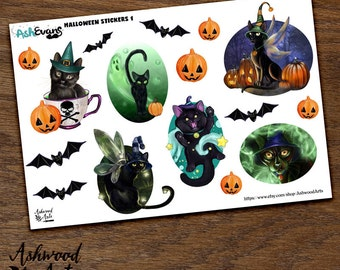 Ash Evans Halloween Autumn Black Cat Planner Stickers