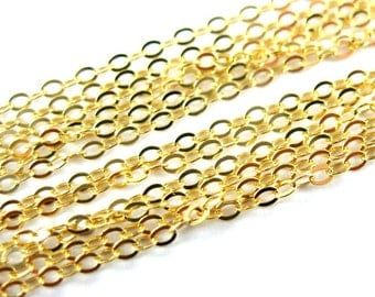 Gold Chain,Gold plated Chain,Sterling Silver Chain,Vermeil Unfinished Bulk Chain,Thick Cable Flat Oval ,Cable Chain( 6 feet) -SKU: 101043-VM