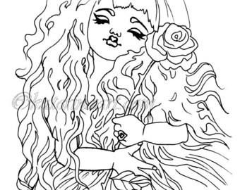 Little Princess rose tiara  INSTANT DOWNLOAD Digi Stamps fantasy Digi fantasy art By Katerina Art