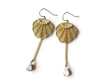 Golden Fans Earrings Pearls - White Opal Earrings - Art Nouveau Jewelry -Padma Earrings (SD1145)