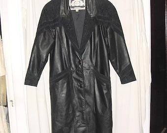 Vintage 80s Ladies Black Leather Suede Long Coat M Rock Star Shoulderpads