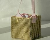 Flower Girl Basket + Gold Rhinestone wrapped wood Flower Girl Basket with ribbon Handle (4 x 4)