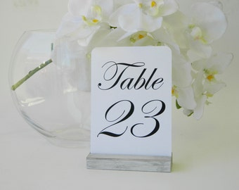 Table Number Holder + Whitewash distressed Table Number Holders- Set of 10