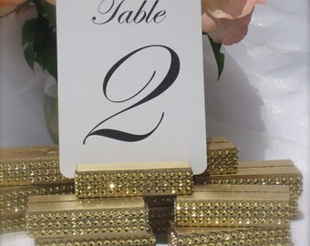 Gold Rhinestone Bling Table Number Holder  (Set of 10) ON SALE