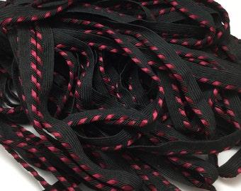 Vintage Black & Red Satin Corded Piping Trim -2 Yards
