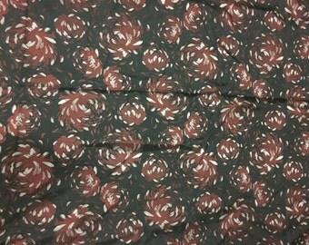 Burgundy Mums Floral - Faux Silk Brocade Fabric -  1/4 Yard