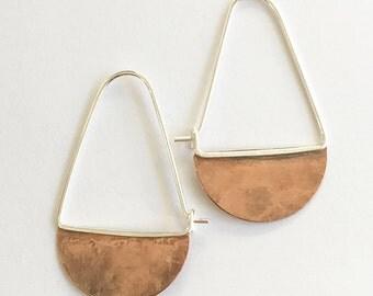 Sterling Silver Brass Earrings Hoops Boho Chic Crescent Moon by Maribelle Campa