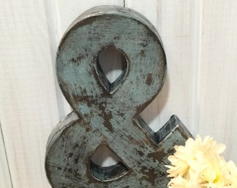 Letter in Bird Egg Blue ~ Ampersand ~ and symbol ~ Cottage Chic and Distressed ~  Primitive with Black Accents