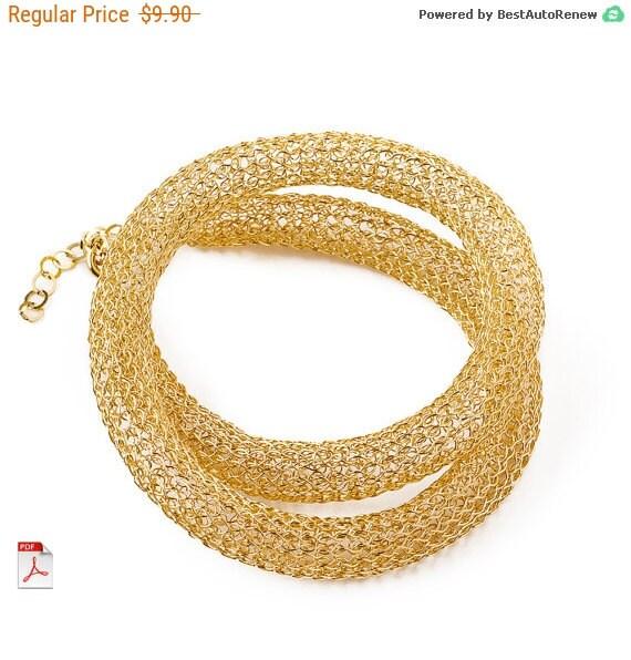 50% OFF SALE - Crochet pattern of a wire crochet Necklace , PDF pattern tutorial ebook step by step instructions , jewelry pattern , yool...