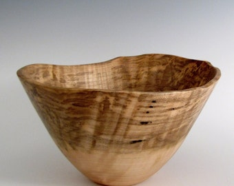 Wood Bowl - Curly Maple Wood Turned Bowl - Decorative Wood Turned Bowl - Wedding Gift - Artistic Wood Bowl- Wooden Bowl - Gifts for Him