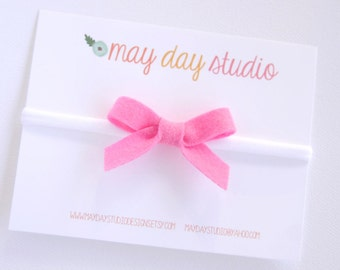 newborn baby toddler girls felt bow headband - pink felt bow on white nylon headband ONE SIZE fits all