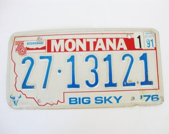 vintage montana state auto license plate