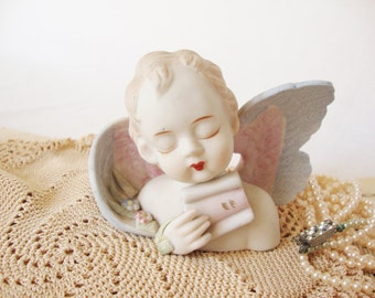 vintage angel cherub bisque ceramic figurine Lamore china japan