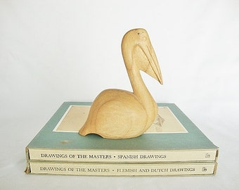 vintage carved wood pelican sculpture beach cottage style