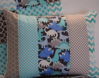 "Prehistoric Pals Dinosaur Quilted Pillow Case 12""x16"" - Aqua, Serenity Blue, Charcoal Gray, Polka Dots, Baby Nursery"