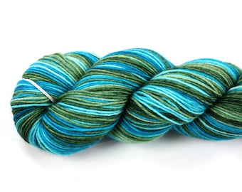 Yoshi--hand dyed sock yarn, BFL and nylon, (464yds/100gm)