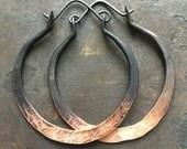 Ombre Hoop Earrings / Large Hoops / Copper Hoop Earrings / Metalwork Jewelry / DanielleRoseBean / Custom Hoop Earrings