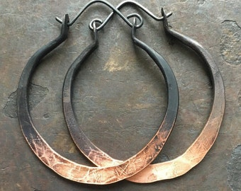 Ombre Hoop Earrings / Large Hoops / Copper Hoop Earrings / Metalwork Jewelry / DanielleRoseBean / Custom Hoop Earrings