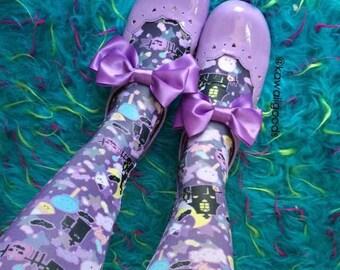 Candy CemeteryTights, Eyeball Bone Creepy Cute Bat Leggings Tights, Bat Tights, Pastel Goth Tights, Lavender Eyeball Tights