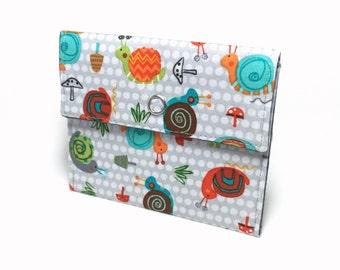 Snails snap wallet. Card holder. Business card holder. Mini wallet for business cards, loyalty cards, credit cards, gift cards. Card case.