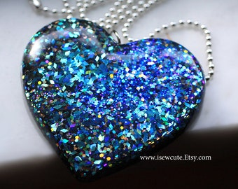 Bespoke Blue Heart Pendant Necklace, Resin Jewelry, Blue Aquamarine Glitter Mix, Big Bold Statement Necklace Handmade by isewcute