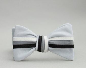 monotone triple stripe bow tie //  grey self tie bow tie  //  modern mens bow tie // self tying bow tie