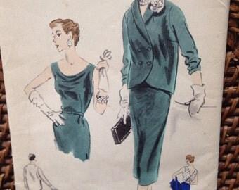 Vintage vogue 1953 dress/ jacket