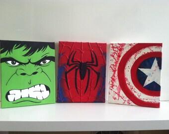 Marvel Superhero Canvas Set Spiderman Incredible Hulk Captain America Set of 3
