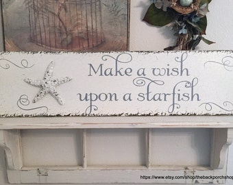MAKE A WISH Upon A STARFISH, Starfish Signs, Beach Signs, Coastal Decor, 32 x 8.5