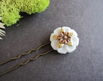 Flower Hair Fork, Vintage Button, Bohemian Wedding, Wild Flower, Victorian Hair Stick, Boho Hair Pin, Woodland Wedding, Flower Hair Pin